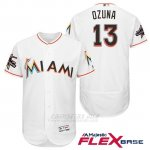 Camiseta Beisbol Hombre Miami Marlins 13 Marchell Ozuna Blanco 2017 Flex Base