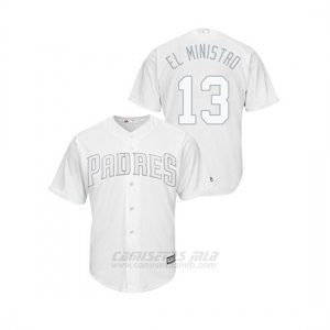 Camiseta Beisbol Hombre San Diego Padres Manny Machado 2019 Players Weekend Replica Blanco