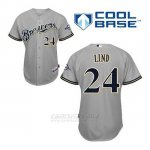 Camiseta Beisbol Hombre Milwaukee Brewers Adam Lind 24 Gris Cool Base