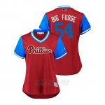 Camiseta Beisbol Mujer Philadelphia Phillies Austin Davis 2018 Llws Players Weekend Big Fudge Scarlet