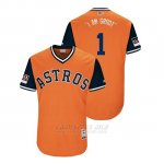 Camiseta Beisbol Hombre Houston Astros Carlos Correa 2018 Llws Players Weekend I Am Groot Orange