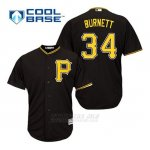 Camiseta Beisbol Hombre Pittsburgh Pirates A.j. Burnett 34 Negro Alterno Cool Base