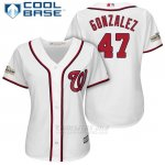 Camiseta Beisbol Mujer Washington Nationals 2017 Postemporada Gio Gonzalez Blanco Cool Base