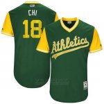 Camiseta Beisbol Hombre Oakland Athletics 2017 Little League World Series Chad Pinder Verde
