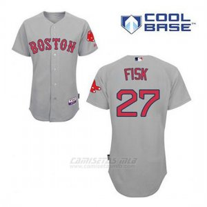 Camiseta Beisbol Hombre Boston Red Sox 27 Carlton Fisk Gris Cool Base