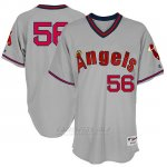 Camiseta Beisbol Hombre Los Angeles Angels Mensangels Kole Calhoun Gris 1977 Turn Back The Clock