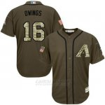 Camiseta Beisbol Hombre Arizona Diamondbacks 16 Chris Owings Verde Salute To Service