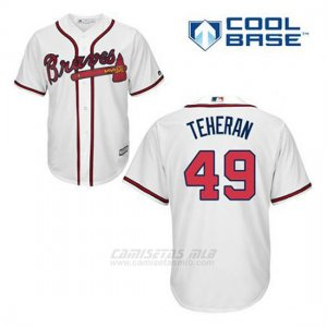 Camiseta Beisbol Hombre Atlanta Braves 49 Julio Teheran Blanco 1ª Cool Base