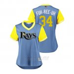 Camiseta Beisbol Mujer Tampa Bay Rays Jake Faria 2018 Llws Players Weekend Fuh Ree Uh Light Toronto Blue Jays